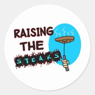 Anheben der Steaks Runder Aufkleber