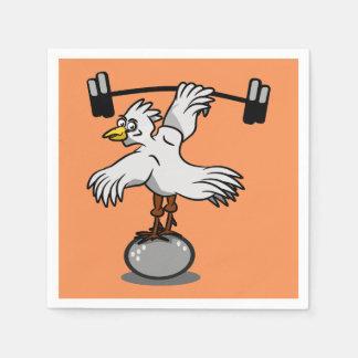 Anhebende Gewichte des Huhns Papierserviette