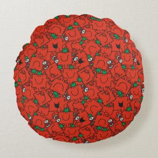 Anhebende Gewichte Herr-Strong | rot u. grünes Rundes Kissen