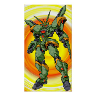 Anime-Camouflage-Roboter Poster