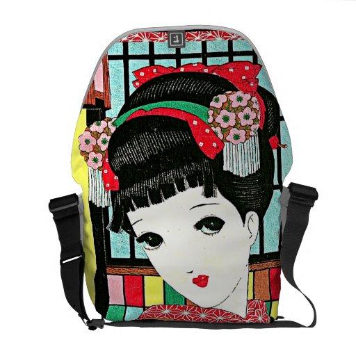 Anime-japanische Schönheits-Rickshaw-Bote-Tasche Kuriertasche