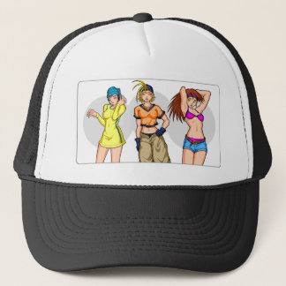 Anime-Mädchen-Dreiergruppen Truckerkappe