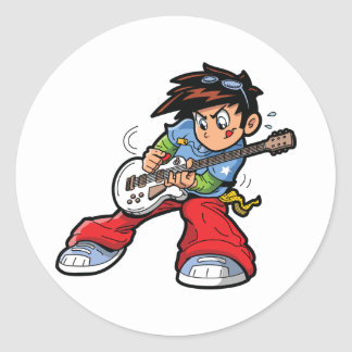 Anime-Rockstar-Aufkleber Runder Aufkleber