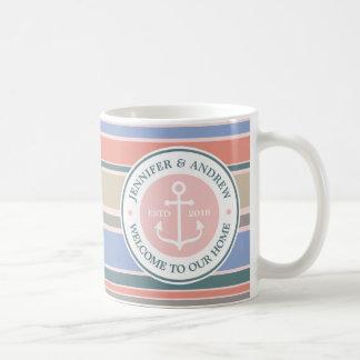 Anker-Monogramm-modisches Streifen-Rosa-Seestrand Tasse