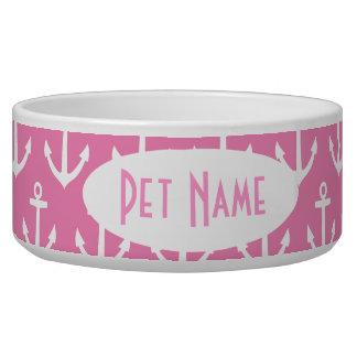 Anker-rosa personalisierte Hundefutter-Napf