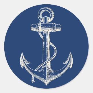 Anker-Seeaufkleber-Dekor-Marine-Blau-Weiß Runder Aufkleber