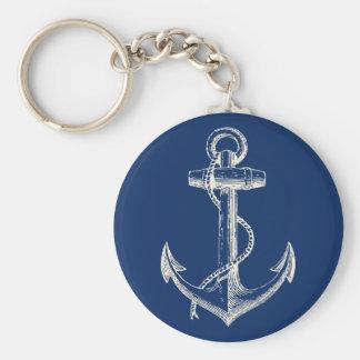 Anker SeeKeychain Geschenk-Marine-Blau-Weiß Standard Runder Schlüsselanhänger