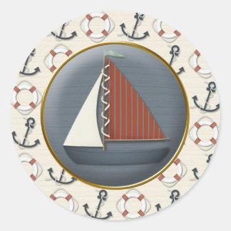 Anker-Segelboot Runder Aufkleber
