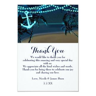 Anker-u. Palme-Strand-Nachthochzeit danken Ihnen 8,9 X 12,7 Cm Einladungskarte
