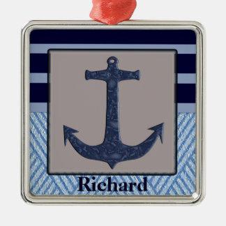 Anker-u. Streifen-Seeentwurf Silbernes Ornament