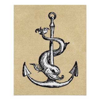 Anker und Delphin - Festina Lente Poster