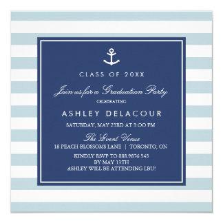 Anker-und der Streifen-| hellblaue Babyparty Quadratische 13,3 Cm Einladungskarte