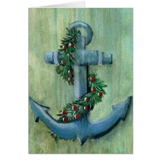 Anker-und Girlanden-Weihnachtskarte Karte