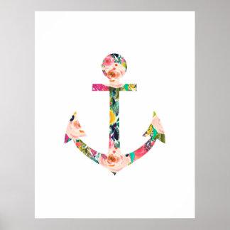 Ankerblumenwand-Kunst-Kinderzimmer Poster