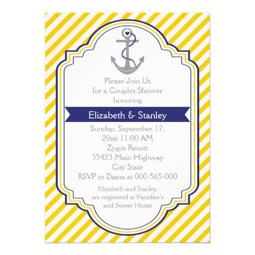 Ankergelbe Seehochzeits-Paardusche Personalisierte Einladungskarten