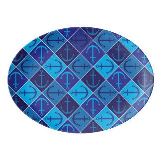 Ankermuster Porzellan Servierplatte