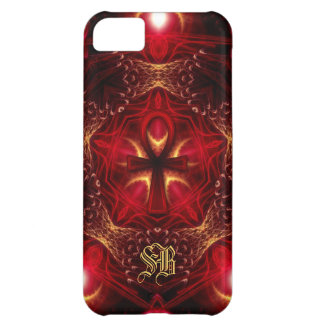 Ankh Energie-Rot+Goldgewohnheits-Monogramm iPhone 5C Hülle