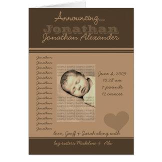 Ankündigung der Baby-Geburts-Mitteilungs-Karten Grußkarte