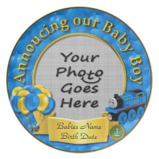 Ankündigung unserer Baby-Andenken-Platte Party Teller