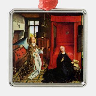 ANKÜNDIGUNGS-ENGEL Erzengel Gabriel und Jungfrau Quadratisches Silberfarbenes Ornament