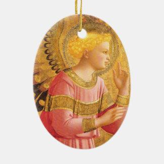 ANKÜNDIGUNGS-ENGEL IN GOLDrosa Weihnachten Keramik Ornament