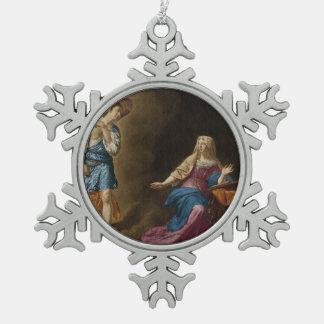 Ankündigungs-Engel und Mary Schneeflocken Zinn-Ornament