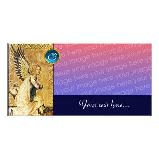 ANKÜNDIGUNGS-ENGELS-MONOGRAMM, blauer Saphir Individuelle Photo Karten