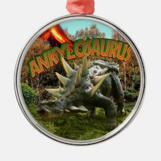 Ankylosaurus-Dinosaurier-Park-Vegetation und Silbernes Ornament