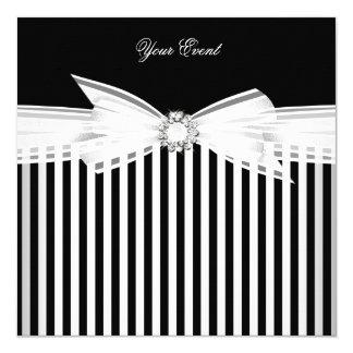Anlass-Schwarz-Bogen-weißes Streifen-Party (2) Quadratische 13,3 Cm Einladungskarte