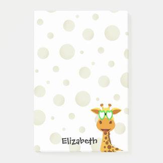Anmerkungen mit einer Giraffe Post-it Klebezettel