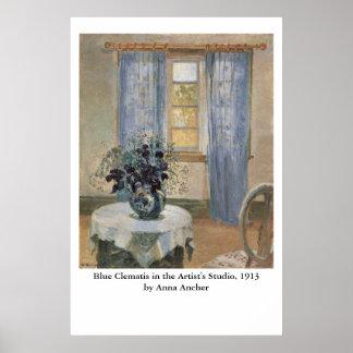 Anna Anchers blauer Clematis im Studio des Poster