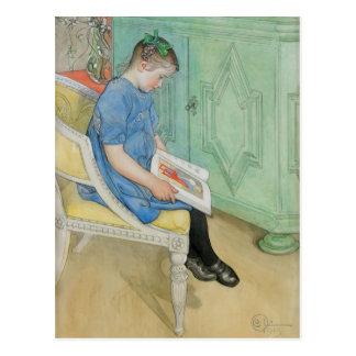 Anna Johanna, die ein Buch liest Postkarte