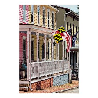 Annapolis MD - Flaggen entlang Oststraße Poster