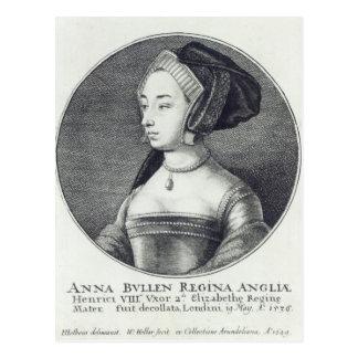 Anne Boleyn, geätzt von Wenceslaus Hollar, 1649 Postkarte
