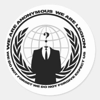 Anonymes Logo w/motto Runder Aufkleber