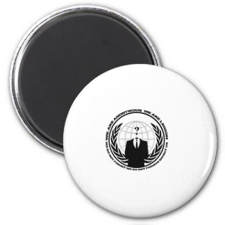 Anonymes Logo w/motto Runder Magnet 5,7 Cm