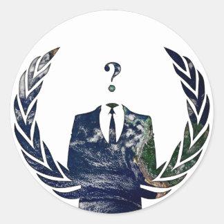 Anonymes weltweites runder aufkleber