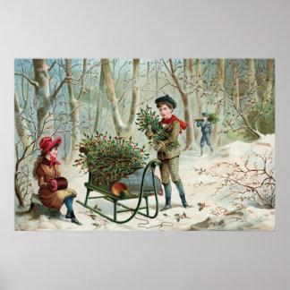 Ansammlungs-Weihnachtsstechpalme c.1890 Poster