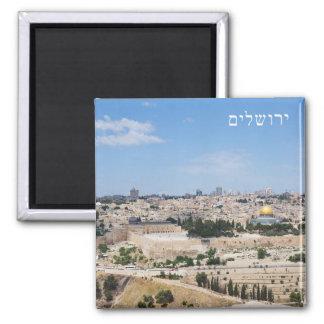 Ansicht alter Stadt Jerusalems, Israel Quadratischer Magnet