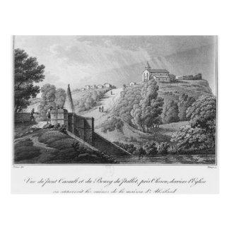 Ansicht der Cacault Brücke und des Dorfs von Postkarte