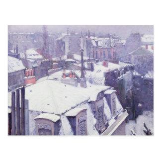 Ansicht der Dächer oder der Dächer unter Schnee, Postkarte