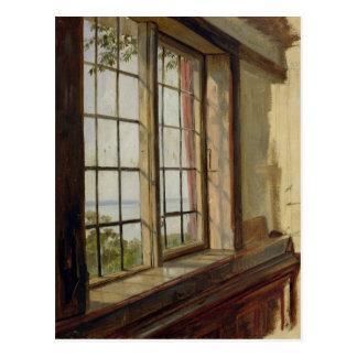 Ansicht der Elbes durch ein Fenster, 1838 Postkarte