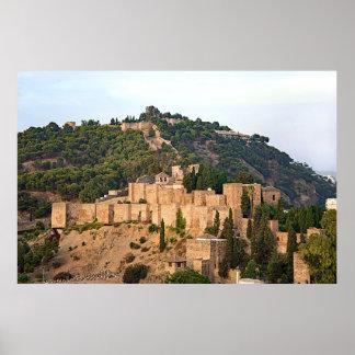 Ansicht der Festung von Alcazaba in Màlaga Poster