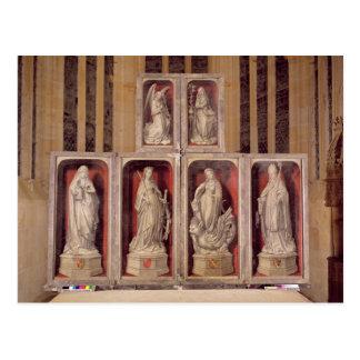 Ansicht der Platten des geschlossenen Altarpiece Postkarte