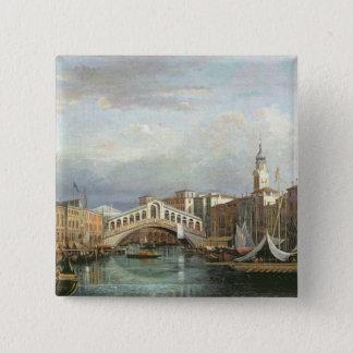 Ansicht der Rialto Brücke in Venedig Quadratischer Button 5,1 Cm