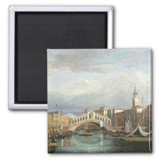Ansicht der Rialto Brücke in Venedig Quadratischer Magnet