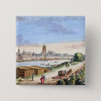 Ansicht der Stadt von Frankfurt, Süden Quadratischer Button 5,1 Cm
