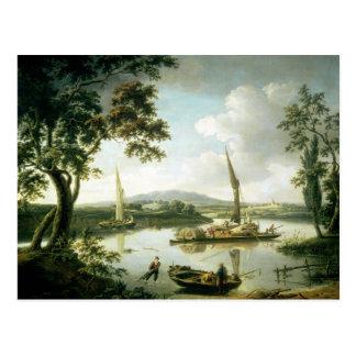 Ansicht der Themse von der scharfen Rand-Fähre Postkarte
