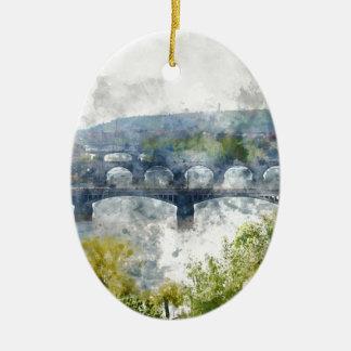 Ansicht des die Moldau-Flusses und der Brücken, Keramik Ornament