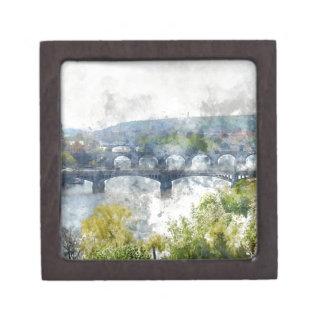 Ansicht des die Moldau-Flusses und der Brücken, Kiste